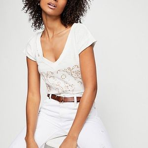 Free People We The Free Dreamy Embroidered Tee
